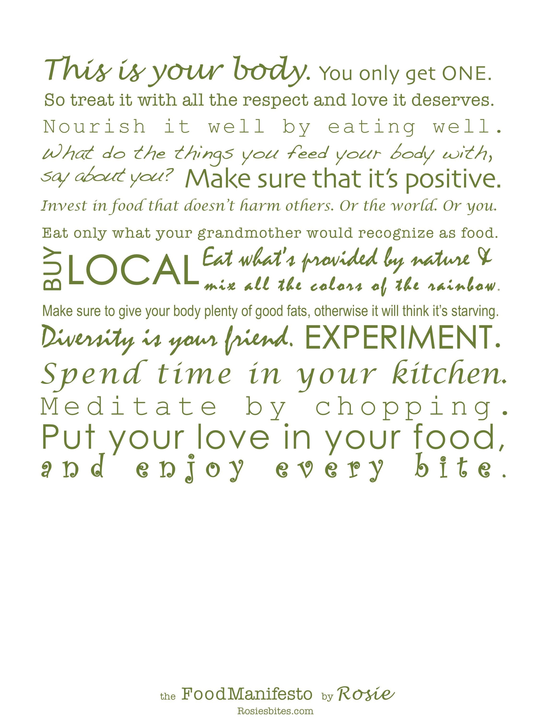 Rosie's Food Manifesto