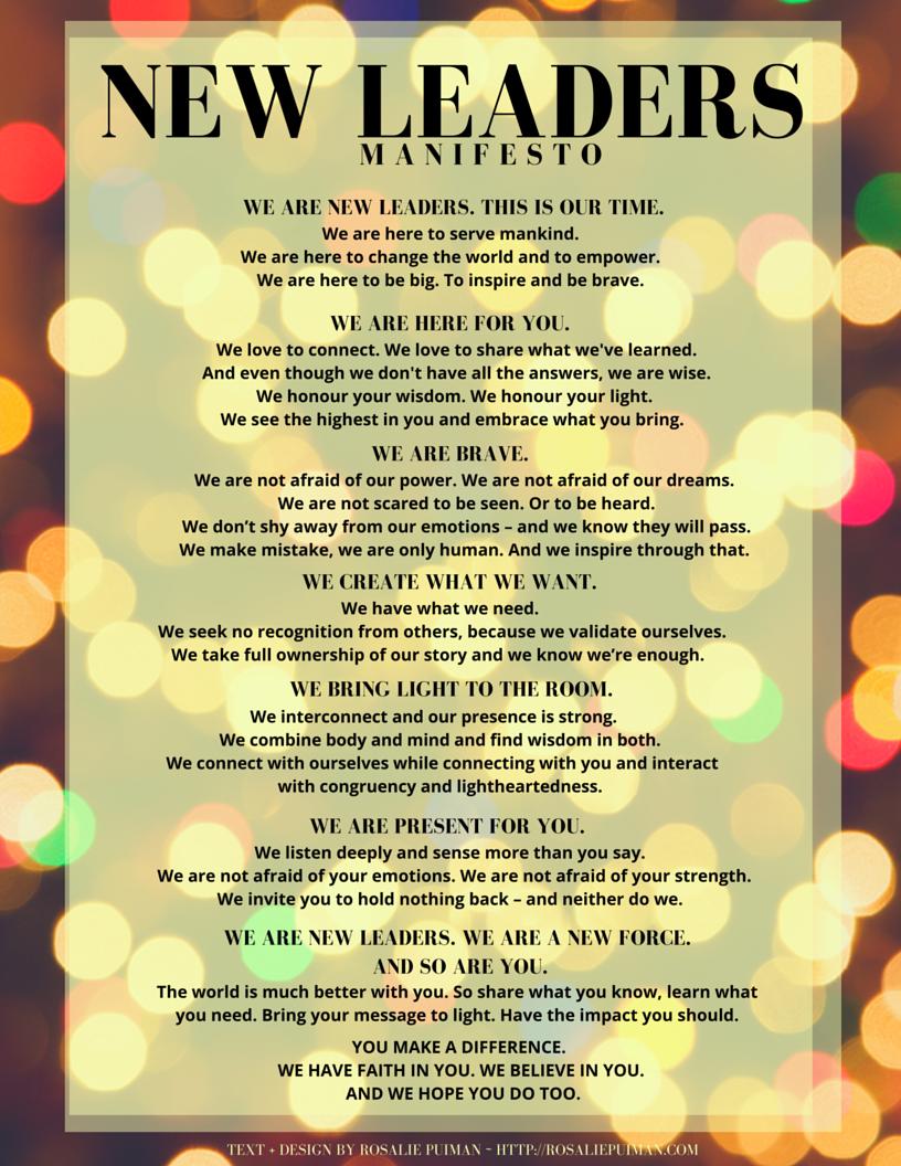 the New Leaders Manifesto